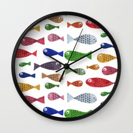 Happy colorful fishes Wall Clock
