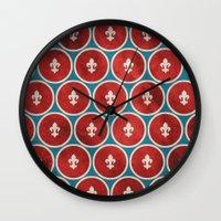 fleur de lis Wall Clocks featuring Polka Fleur de Lis by Paula Belle Flores