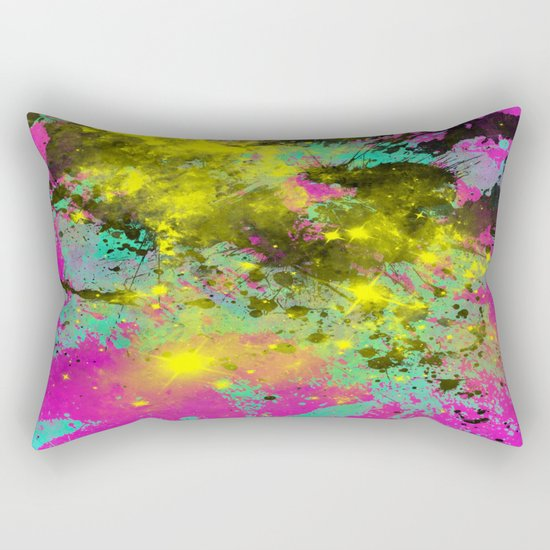 Stargazer - Abstract cyan, black, purple and yellow oil painting Rectangular Pillow