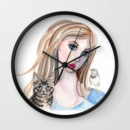 Girl and Friends Wall Clock