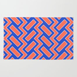 032 Abstract white, blue and orange art for home decoration Rug