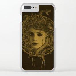 Golden Medusa Greek Mythology Illustration Clear iPhone Case