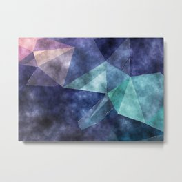 The deep blue sea - Watercolor triangles pattern in blue colors Metal Print