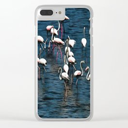 Flamingo Birds In Pink and White On Blue Clear iPhone Case