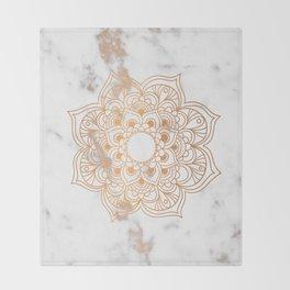 Copper flower mandala - marble Throw Blanket
