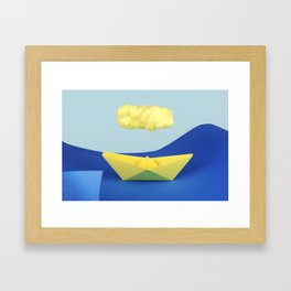 The yellow cloud over the yellow ship Framed Art Print