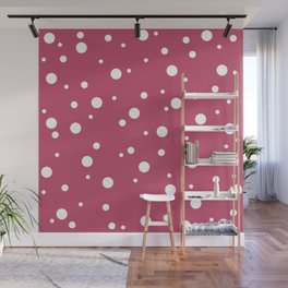 Classic Minimal White Dots on Wine Red Wall Mural