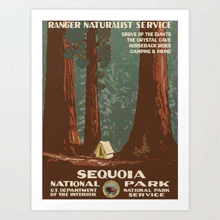 Sequoia National Park Wpa Vintage Poster Art Print By Bestvintageposters Society6