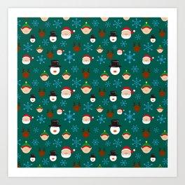 Christmas Four with Snowflakes Art Print
