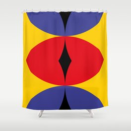 Yellow Wall. Three eye shaped windows. Apocaliptic background. Red Snake eye and two roads. Shower Curtain
