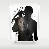 daryl dixon Shower Curtains featuring Walking Dead Daryl Dixon by pizza_dudes_got_30seconds