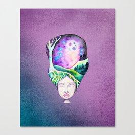 Whimsical Moonscape Girl - Purple Palette Moonscape Watercolor Canvas Print