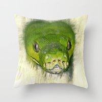 monty python Throw Pillows featuring Python Art by ChiaraLily