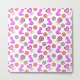little pink baby bear cubs, sweet vintage retro lollipops. Cute girly nursery winter pattern design. Metal Print