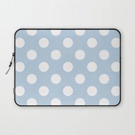 Beau blue - blue - White Polka Dots - Pois Pattern Laptop Sleeve