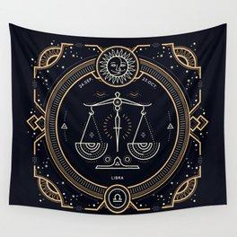 Libra Zodiac Golden White on Black Background Wall Tapestry