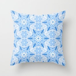 Winter blue snowflake pattern Throw Pillow
