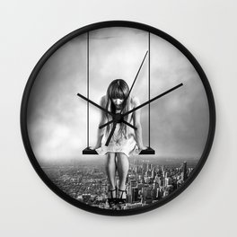 Girl Looking from Above Wall Clock