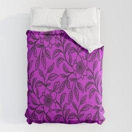 Vintage Lace Floral Dazzling Violet Comforters