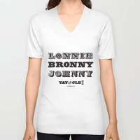 lebron V-neck T-shirts featuring Lonnie, Bronny, Johnny by Melissa Olson
