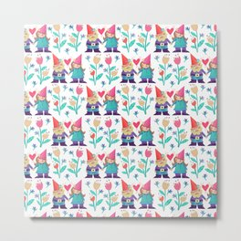 Gnome Love Pattern Metal Print