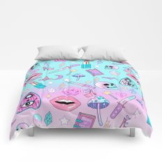 Girly Pastel Goth Witch Pattern Comforters