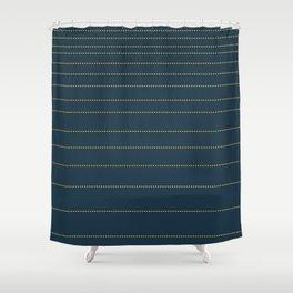 Sunny Horizons. Minimalist Mustard Yellow Gradient Dot Stripes on Navy Blue Solid Shower Curtain