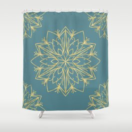 Golden Snowflake Teal Shower Curtain