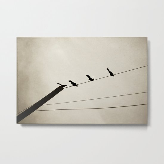 birds on a line Metal Print