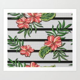 Hibiscus Flower Chevron Pattern Art Print