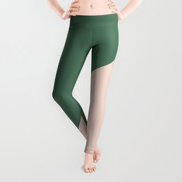 Soft Pink & Army Green - oblique Leggings