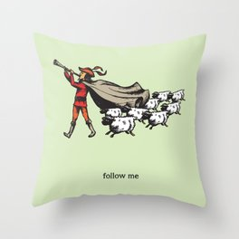 'Follow me' from the RetroTech Series by DaMoJo.co Throw Pillow