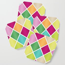 Modern Diamond Geometric Pattern Design // Pink Orange Green Blue Coaster