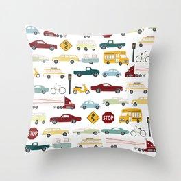 Beep Beep! Cars and Trucks Traffic Pattern Throw Pillow
