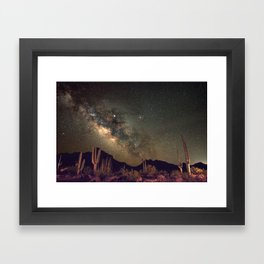 The Milky Way Over Mountains and Cacti Framed Art Print