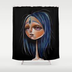 Miss Lapis Lazuli Study Shower Curtain