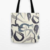 yoga Tote Bags featuring Yoga by Lucy Feebs