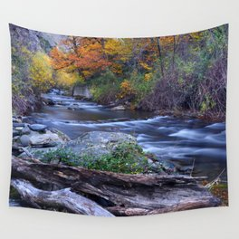 Mountain river. After raining. Night photography. Wall Tapestry