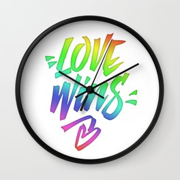 Love Wins Lettering with Rainbow colors Gradient Wall Clock