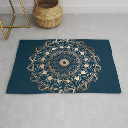 Delicate rose mandala on dark blue Rug