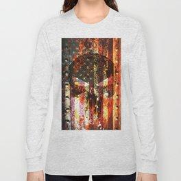 Punisher Themed Skull on Rusted American Flag Long Sleeve T-shirt