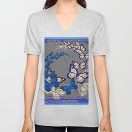Blue Butterflies Blue & Purple Grey Pattern Abstract Unisex V-Neck