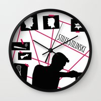 stiles stilinski Wall Clocks featuring Stiles Stilinski by smartypants