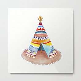 Tepee watercolor Metal Print