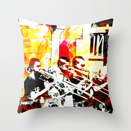Happy noise trumpet players Throw Pillow