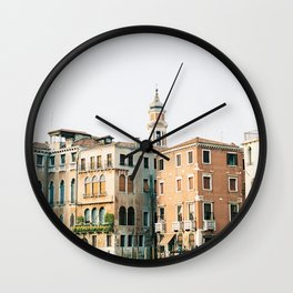 Travel photography | Architecture of Venice | Pastel colored buildings and the canals | Italy Wall Clock