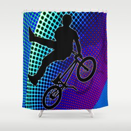 BMX in Fractal Movie Marquee Shower Curtain