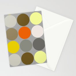 Mid-Century Giant Dots, Gray, Gold and Orange Stationery Cards
