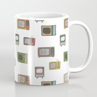 tv Mugs featuring television by Kelly Tucker
