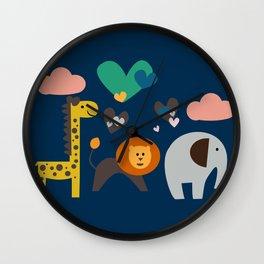 Jungle Run Blue Wall Clock